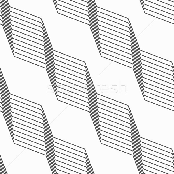 Monochrome pattern with light gray striped diagonal braids Stock photo © Zebra-Finch
