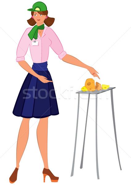 Karikatür kadın yeşil şapka teklif peynir Stok fotoğraf © Zebra-Finch