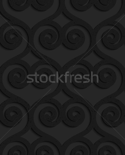 Black textured plastic swirly hearts in grid Stock photo © Zebra-Finch