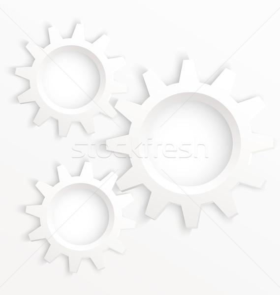 Fogaskerék kerekek fehér vektor kerék szövegbuborékok Stock fotó © Zebra-Finch