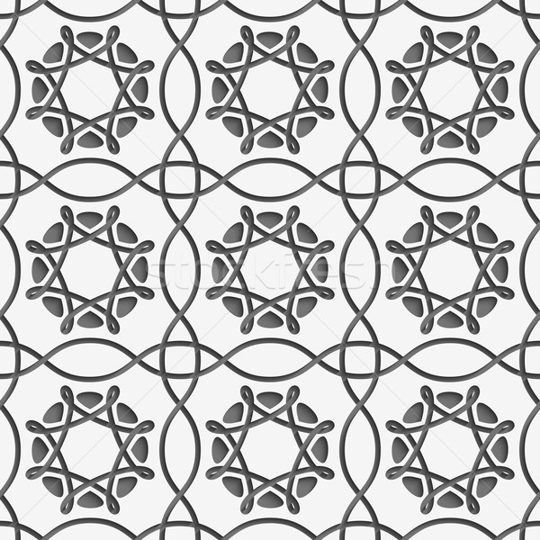 White squares and geometric flowers on gray seamless Stock photo © Zebra-Finch