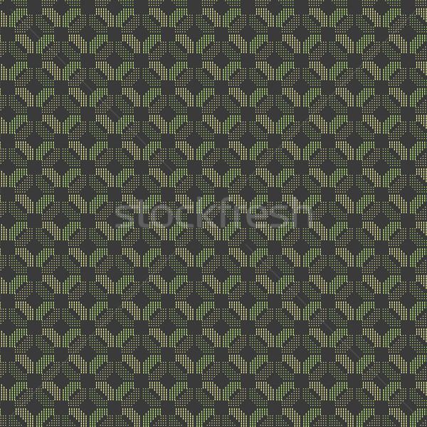 Photo stock: Géométrique · modèle · vert · orange · pointillé