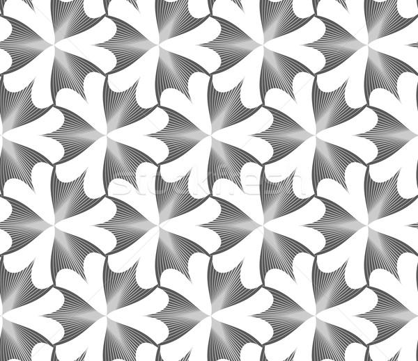 Monochrome striped pointy three pedal flowers Stock photo © Zebra-Finch