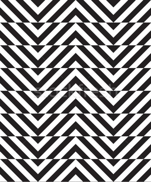 Black and white alternating slim chevron with horizontal cut Stock photo © Zebra-Finch