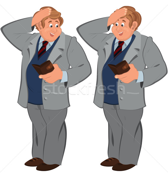 Happy cartoon man standing in gray suite with wallet Stock photo © Zebra-Finch