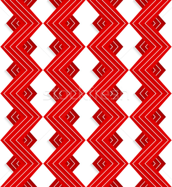 Kırmızı zikzak beyaz hatları geometrik Stok fotoğraf © Zebra-Finch