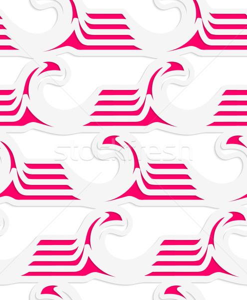 Fehér színes papír magenta csíkos hullámok Stock fotó © Zebra-Finch