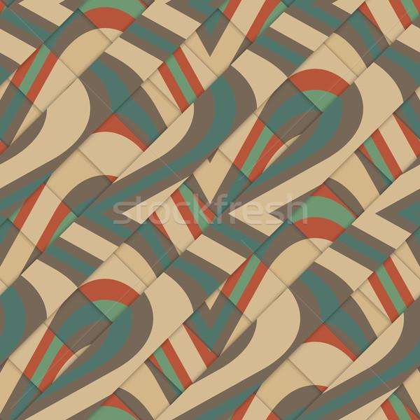 Retro 3D diagonale onde Foto d'archivio © Zebra-Finch