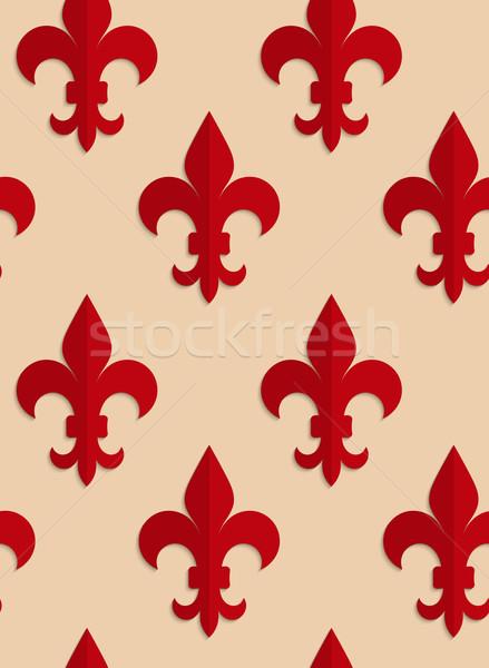 Retro fold red Fleur-de-lis Stock photo © Zebra-Finch