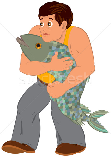 Cartoon man in orange sleeveless top with big fish Stock photo © Zebra-Finch