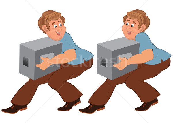 Happy cartoon man in brown pants walking with boxes Stock photo © Zebra-Finch