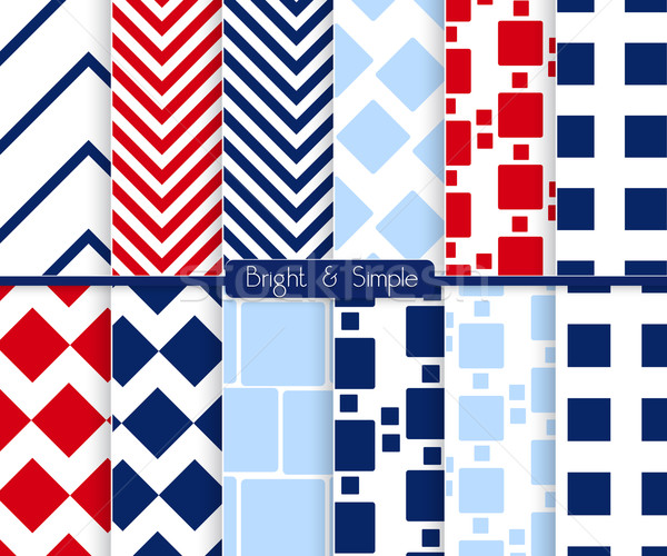 Bright and simple red dark and light blue squares pattern set Stock photo © Zebra-Finch