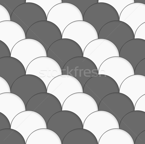 3D white and gray overlapping half circles Stock photo © Zebra-Finch