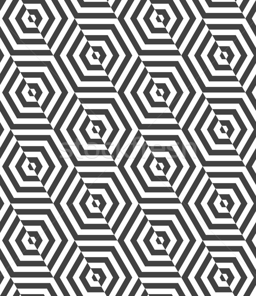 Alternating black and white diagonally cut hexagons Stock photo © Zebra-Finch