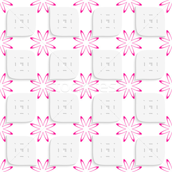 White geometrical perforated leaves and pink flowers seamless Stock photo © Zebra-Finch