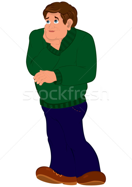 Cartoon man in green sweater torso holding chin standing Stock photo © Zebra-Finch