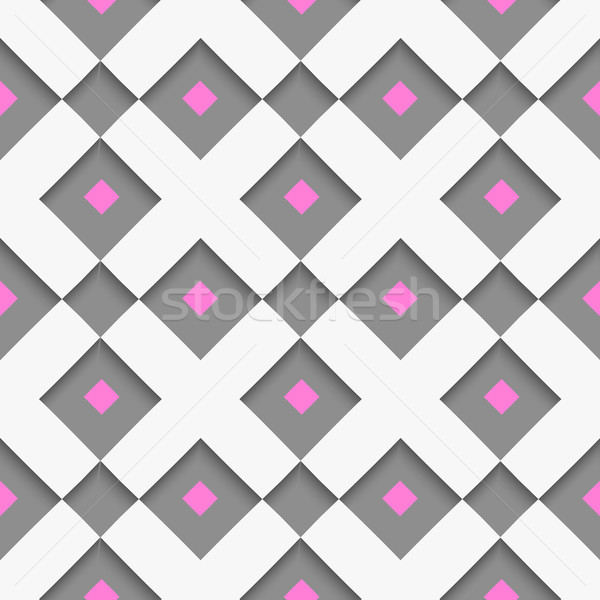 White geometrical ornament with white net and pink squares on gr Stock photo © Zebra-Finch