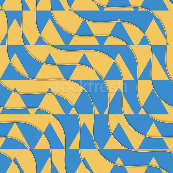 Retro 3D yellow and blue waves with cut out triangles Stock photo © Zebra-Finch