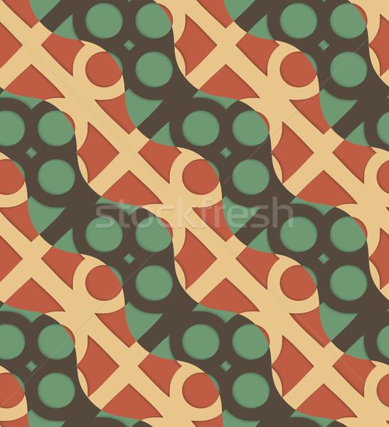 Retro 3D zielone brązowy fale circles Zdjęcia stock © Zebra-Finch