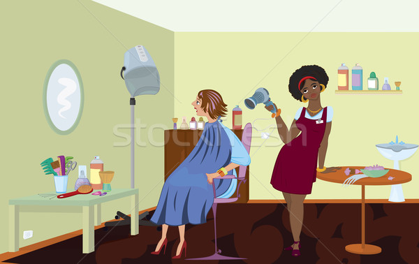 Beauty salon professional is blow drying clients hair after dyin Stock photo © Zebra-Finch