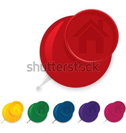 Home icon push pin vector Stock photo © Zebra-Finch