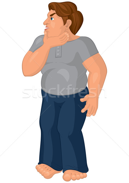 Cartoon man in blue pants barefoot touching hick chick Stock photo © Zebra-Finch