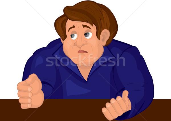 Cartoon triste hombre torso azul superior Foto stock © Zebra-Finch