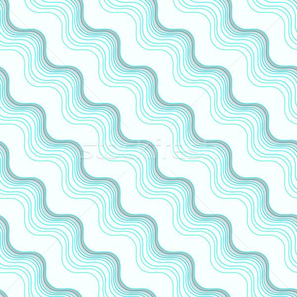 Stok fotoğraf: Geometrik · süs · diyagonal · mavi · dalgalı · hatları