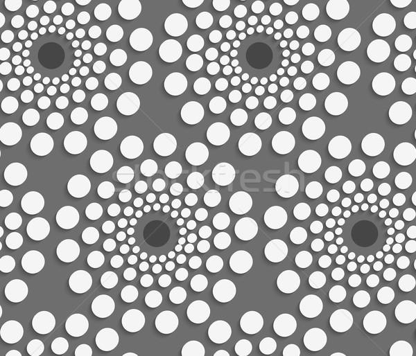 Geometrik model beyaz noktalı ortak merkezli circles Stok fotoğraf © Zebra-Finch