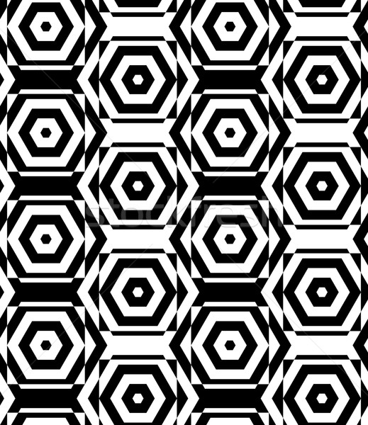 Black and white alternating squares cut through hexagons vertica Stock photo © Zebra-Finch