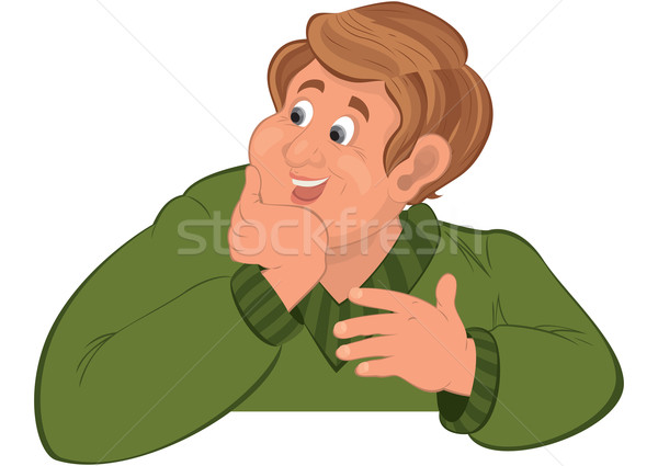 Gelukkig cartoon man torso groene trui Stockfoto © Zebra-Finch