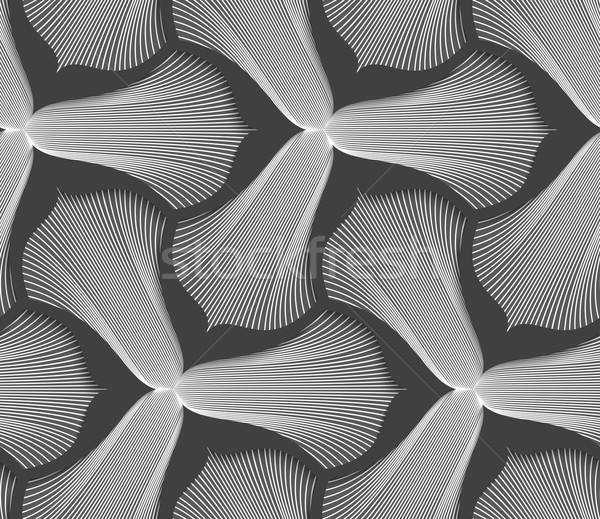 Slim gray striped trefoil flower with black bevel Stock photo © Zebra-Finch