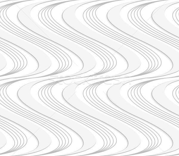 Papír kivágás csíkos szilárd hullámok fehér szürke Stock fotó © Zebra-Finch
