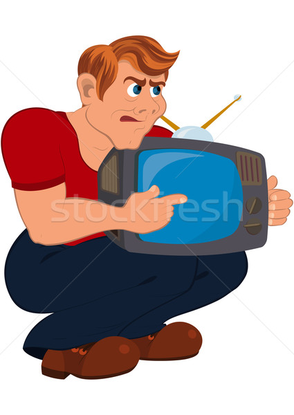 Cartoon man holding old TV Stock photo © Zebra-Finch