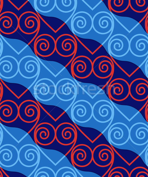 Stock photo: Retro 3D blue and red swirly hearts