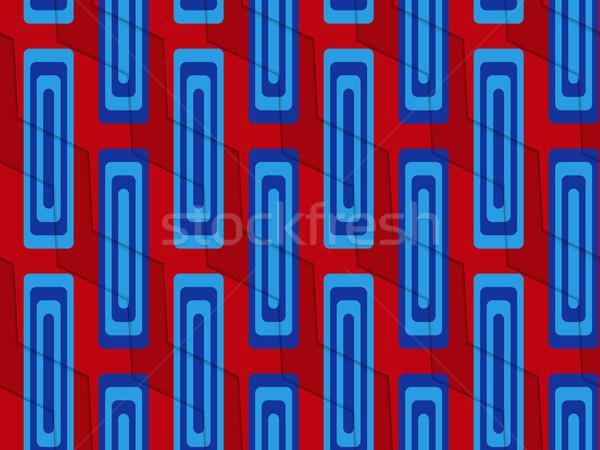Retro 3D blu rosso zig-zag taglio Foto d'archivio © Zebra-Finch