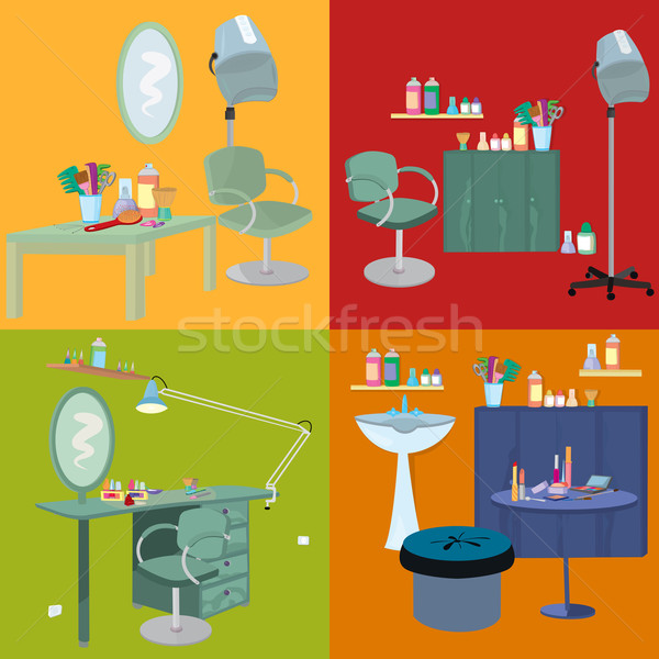 Beauty salon spa furniture flat design Stock photo © Zebra-Finch