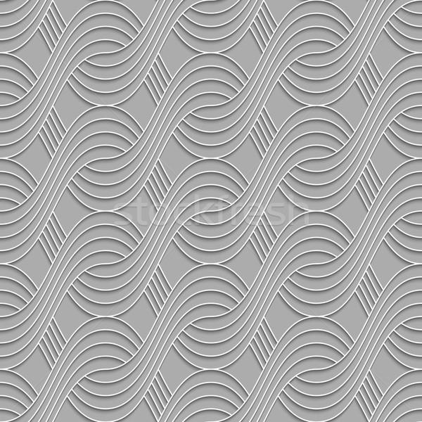3D striped interlocking waves on gray Stock photo © Zebra-Finch