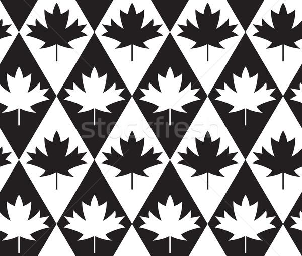 Czarno białe klon pozostawia diamentów elegancki geometryczny Zdjęcia stock © Zebra-Finch
