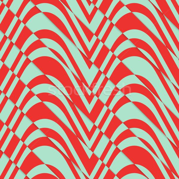 Retro 3D bulging red and green waves diagonally cut Stock photo © Zebra-Finch