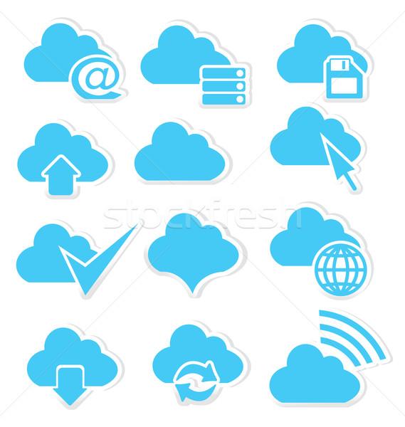 Chmura icon zestaw Internetu symbolika podpisania Zdjęcia stock © Zebra-Finch