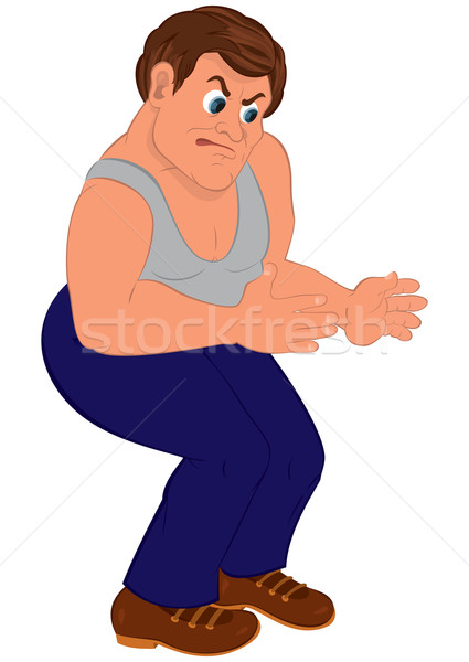 Cartoon man in blue pants and gray top Stock photo © Zebra-Finch