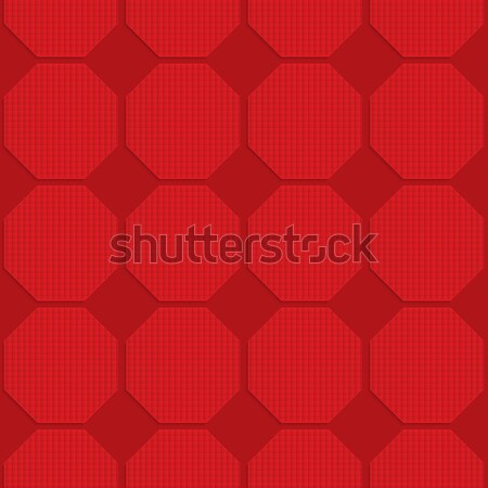 Stock photo: Red checkered octagons