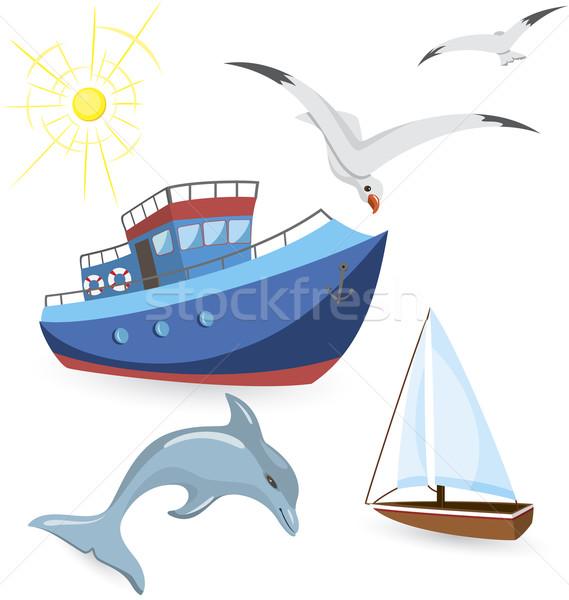 Barcos golfinho gaivotas conjunto branco vetor Foto stock © Zebra-Finch