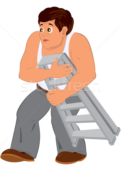 Cartoon man in white sleeveless top holding small ladder Stock photo © Zebra-Finch