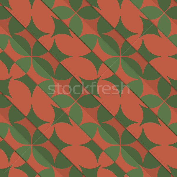 Retro 3D green and red with pointy four foils Stock photo © Zebra-Finch