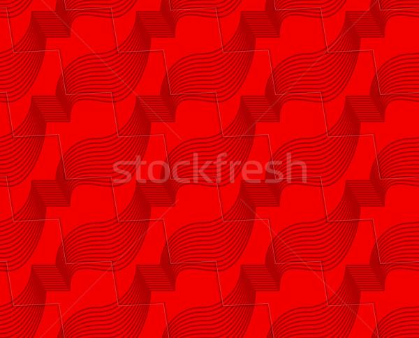 Retro 3D kırmızı zikzak kesmek Stok fotoğraf © Zebra-Finch