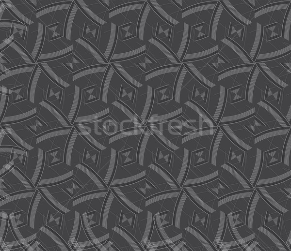 Stock photo: Repeating ornament gray and red lines forming hexagons