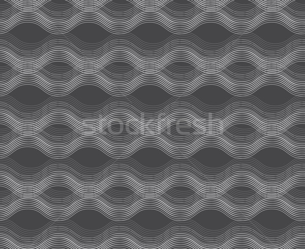 Repeating ornament horizontal wavy lines on gray  Stock photo © Zebra-Finch