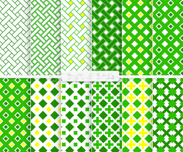 Bright and simple green and yellow squares pattern set Stock photo © Zebra-Finch